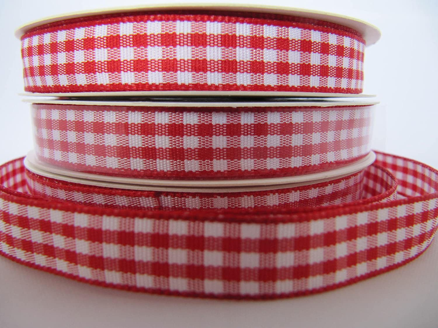 Gingham Ribbon Checked 10mm Black Green /& Red Different Lengths Available