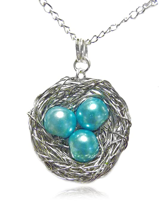 Amazon necklace wire wrapped bird nest pendant with 3 robin amazon necklace wire wrapped bird nest pendant with 3 robin blue pearl eggs jewelry aloadofball Choice Image