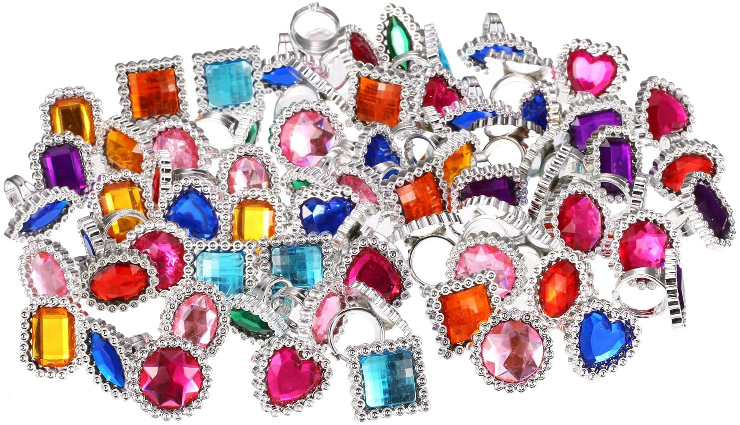 Shappy 72 Piezas de Anillo de Gema Diamante de Imitación de Plástico Anillos de Joyería Grande Ajustable Brillante Anillos de Juguete Accesorios de Disfraces
