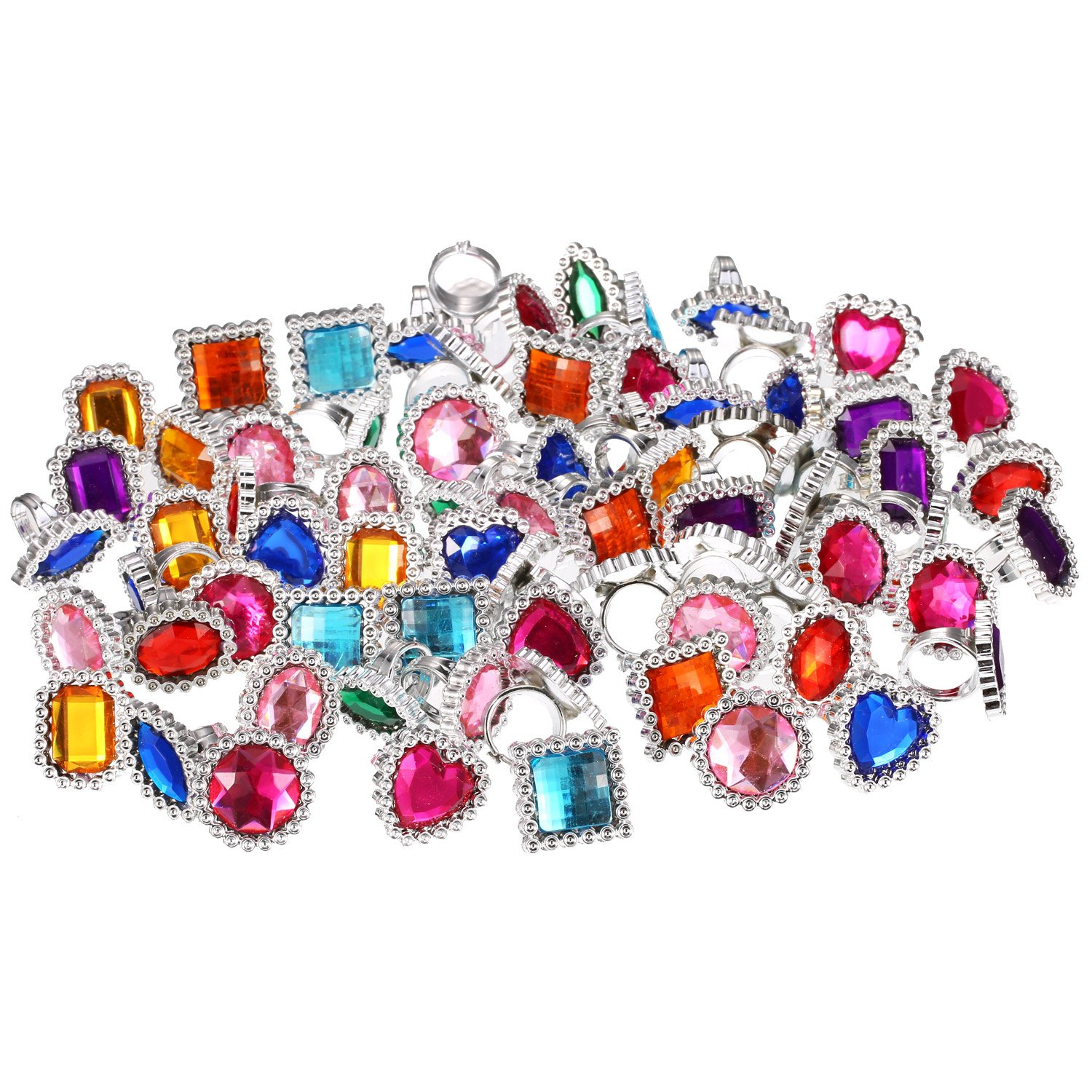 Shappy 72 Pieces Plastic Colorful Rhinestone Gem Rings Sparkle Adjustable Big Jewel Rings Princess Ring Toy Rings Girls Dress Up Accessories