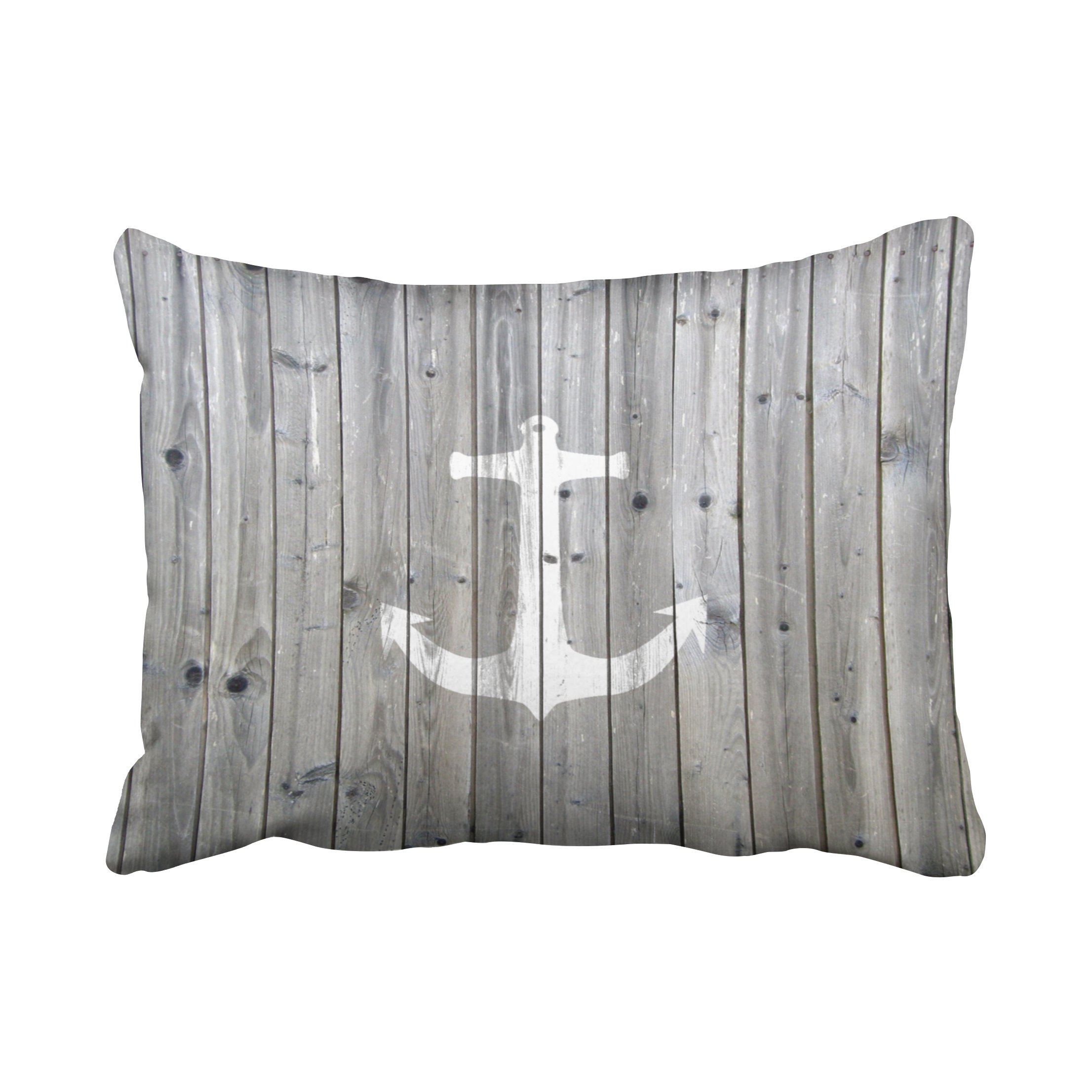 Accrocn Pillowcases Hipster Vintage White Nautical Anchor On Gray Wood Cushion Decorative Pillowcase Polyester 20 x 26 Inch Rectangl Standard Size Pillow Covers With Hidden Zipper