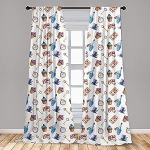 Lunarable Alice in Wonderland 2 Panel Curtain Set, Cupcakes Mushrooms and Bottles Hanging in Sky Dessert Print, Lightweight Window Treatment Living Room Bedroom Decor, 56