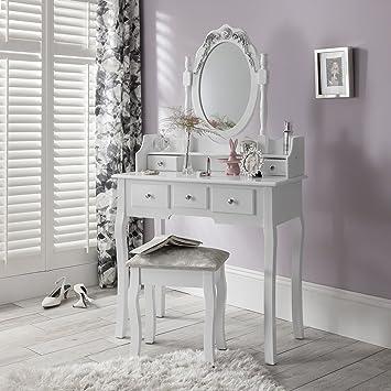 Capri Agtc Chaise Pour Coiffeuse Blanc Meuble Miroir De Chambre