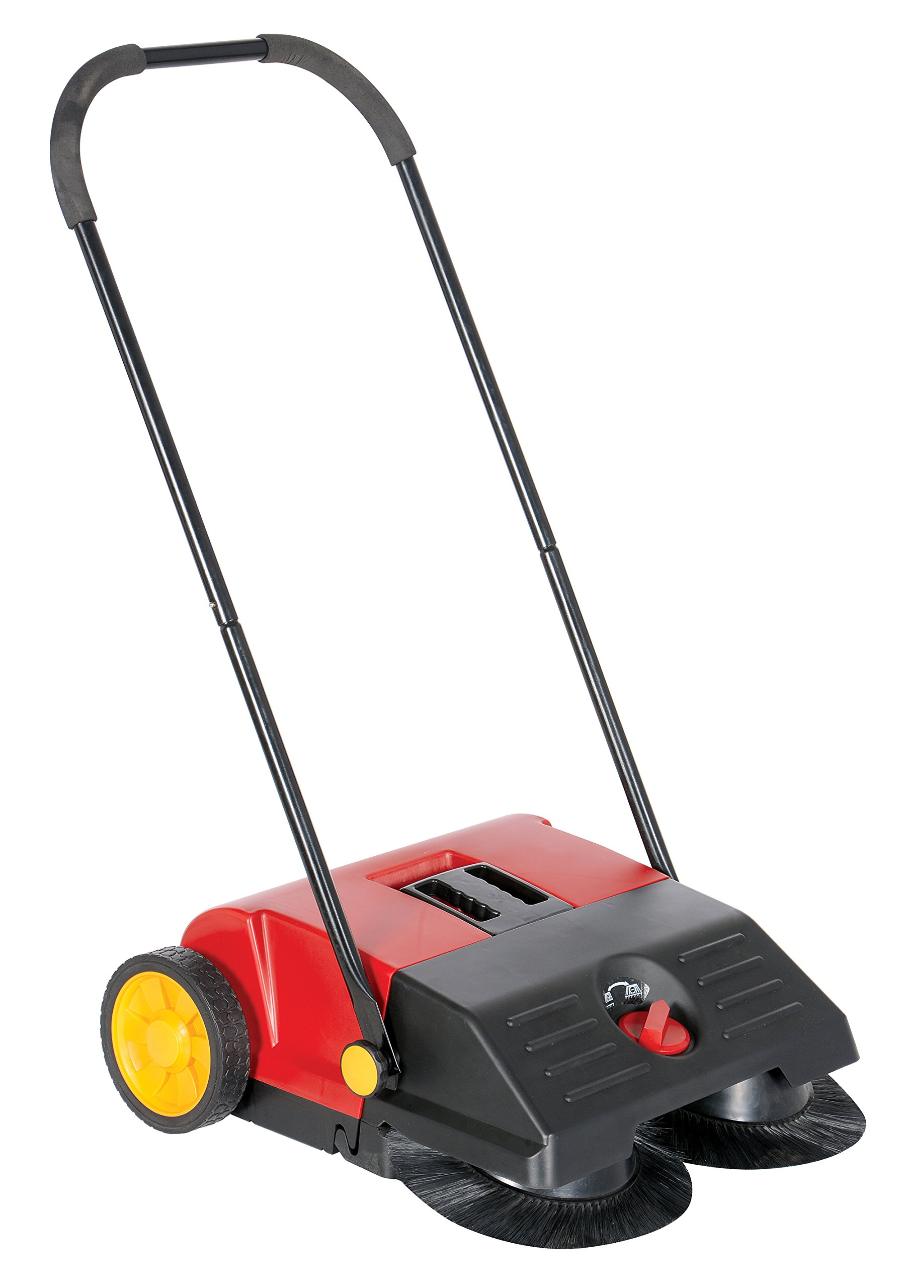 Vestil JAN-SM Manual Push Floor Sweeper with Steel Handle, 21-1/4'' Head Width, 24'' Overall Length, Black and Red