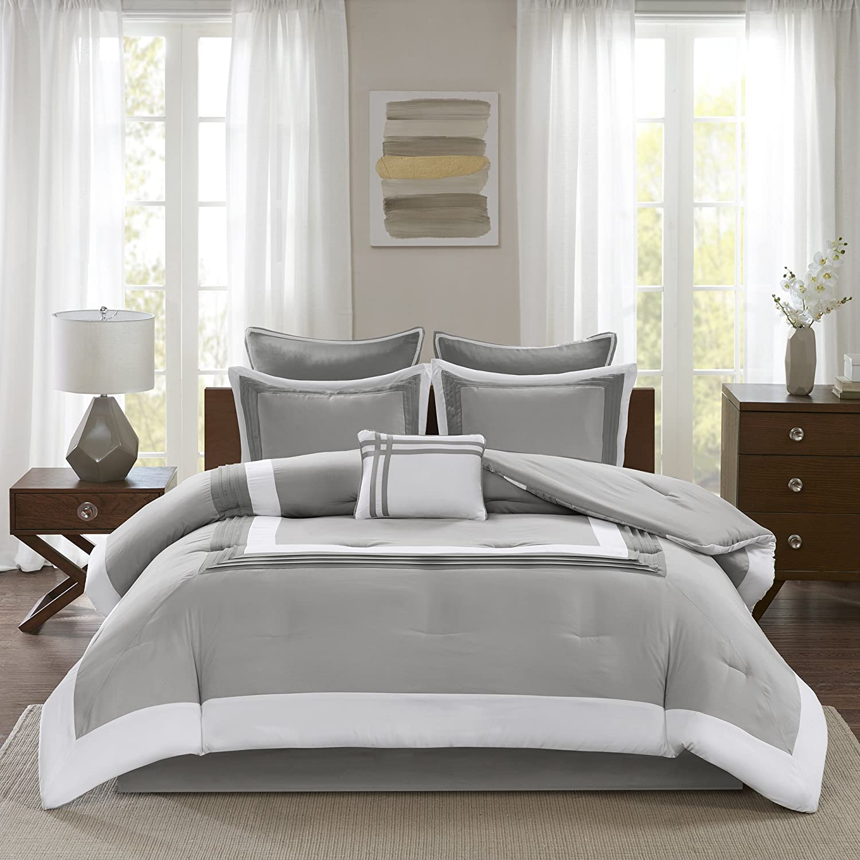 "Comfort Spaces Cozy Comforter Set-Modern Classic Design All Season Down Alternative Bedding, Matching Shams, Bedskirt, Decorative Pillows, Queen(90""x90""), Malcom, Hotel Deluxe Gray 7 Piece"
