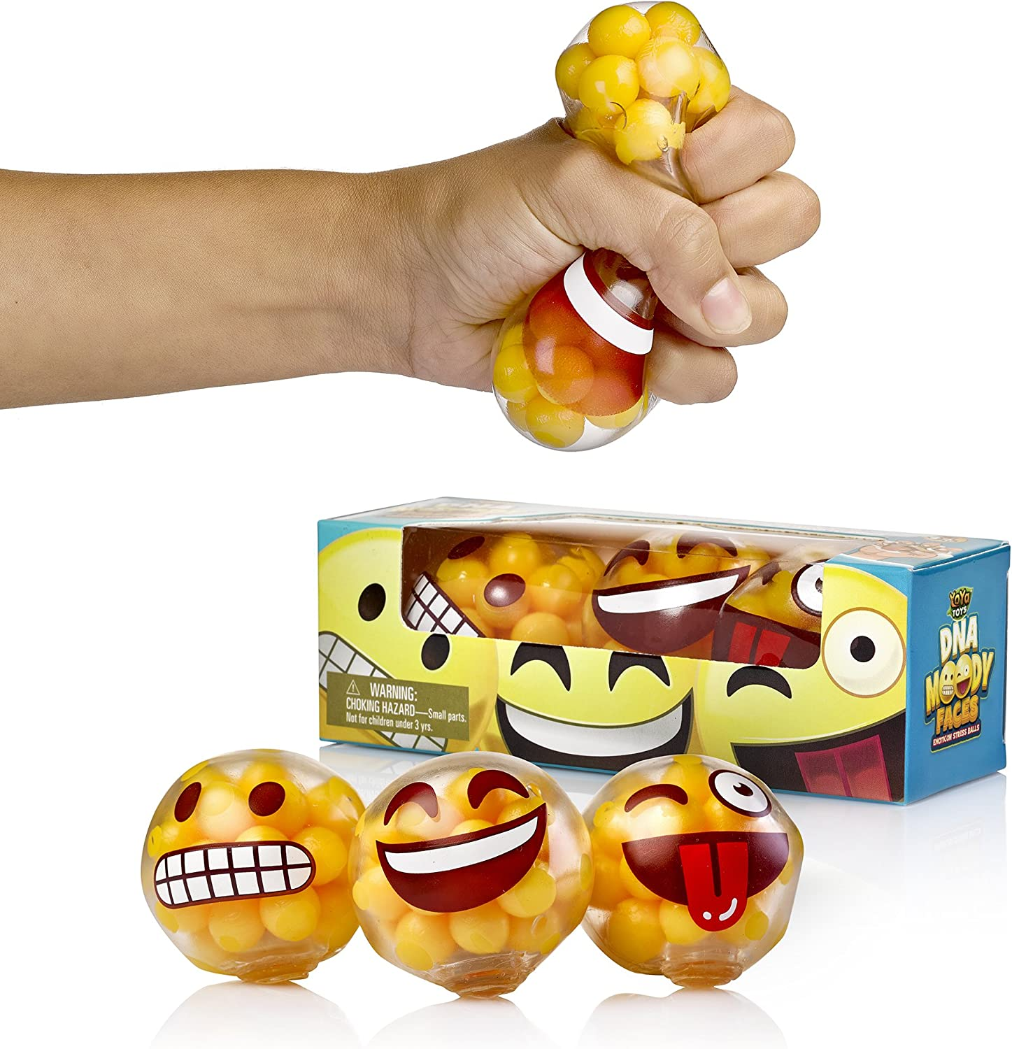 YoYa Toys DNA Emoji Stress Balls Squeezing Stress Relief and Fidget Toy - 3 Different Popular Smiley Face - Risk-Free Sensory Toys for Autism, ADHD, Bad Habits and More - Pack of 3