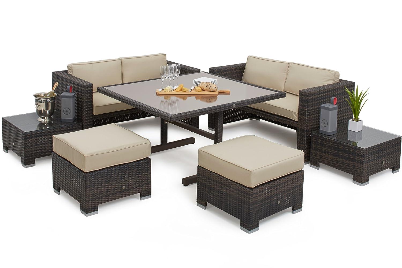 8f500d90a220 Maze Rattan Cube Sofa Set in a Mixed Brown Weave: Amazon.co.uk: Garden &  Outdoors