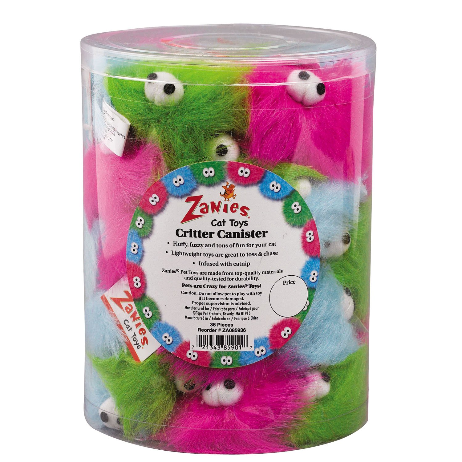 Zanies Critter Cat Toys, 36-Piece Canisters by Zanies