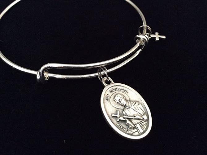 Amazon saint gerard medal silver expandable charm bracelet saint gerard medal silver expandable charm bracelet patron saint of fertility aloadofball Image collections