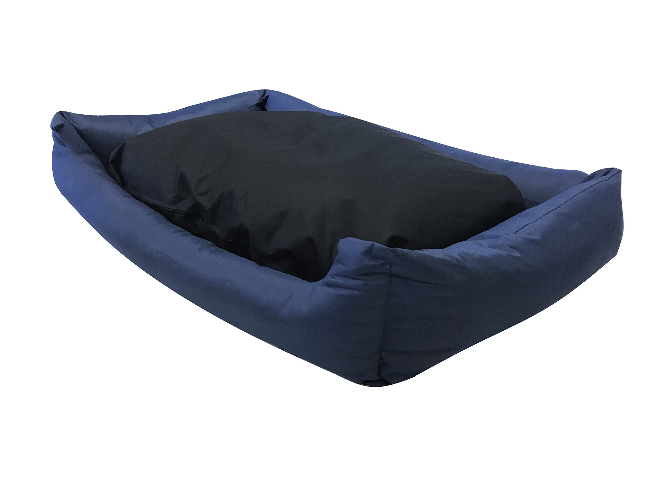 eConsumersUSA Dog Bed Stuffed Pillow with Polyester Filling; Durable External Oxford Fabric Waterproof Anti Slip Cover and Inner Liner Included for Small to Large Dogs (54x37 inches, Blue)