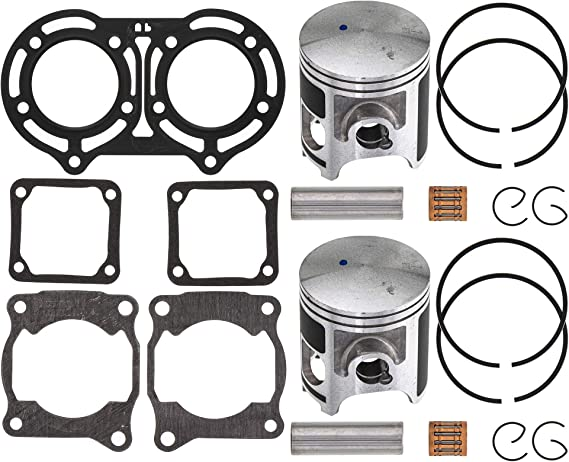 Caltric Cylinder Piston Ring Gasket compatible with Yamaha Banshee 350 YFZ350 1987-2006 64 mm Bore