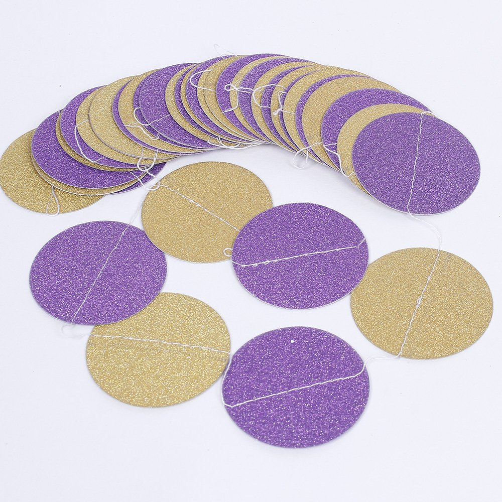 ZOOYOO Glitter Paper Circle Garland Dots Hanging Decor Purple Flash Gold Circle Event /& Party Supplies,2 high,9.8-feet