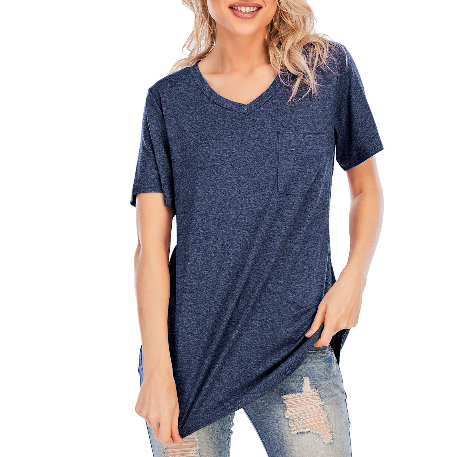Women Casual Twist Knot Tunic Crew Neck Short Sleeve T Shirts Soft