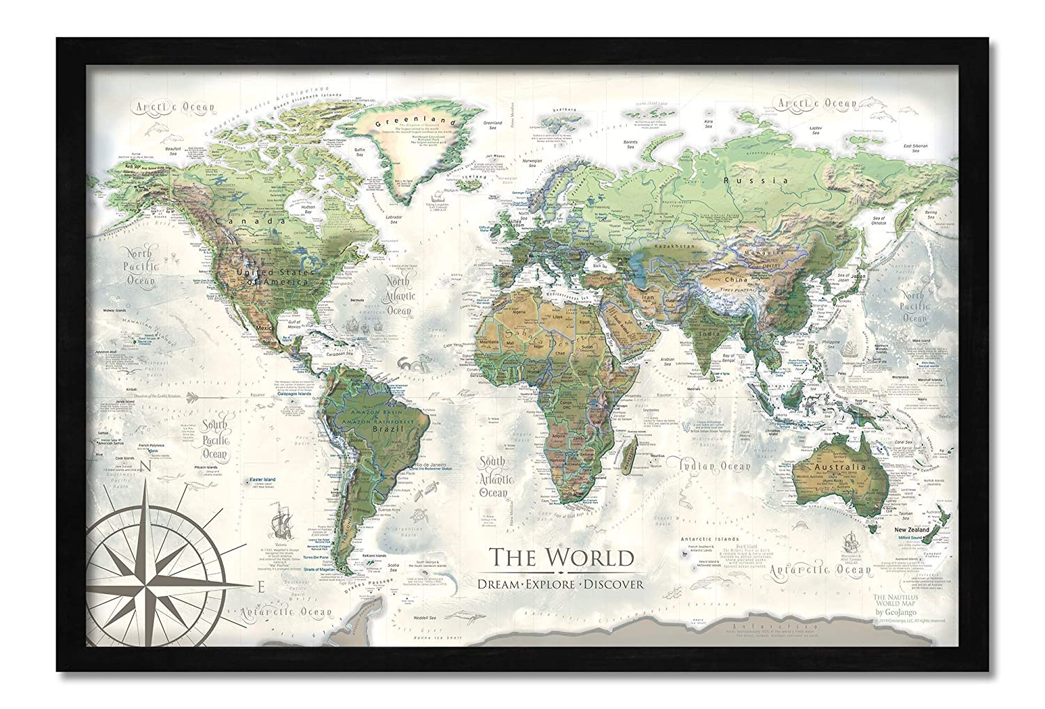 Push Pin World Map - Personalized The Nautilus World Travel Map - Created  by a Professional Geographer