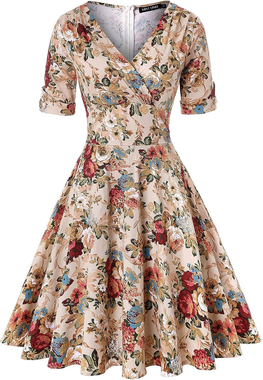 MINTLIMIT Womens 1950s Vintage Wrap Deep V Neck Half Sleeve Retro Cocktail Swing Dress