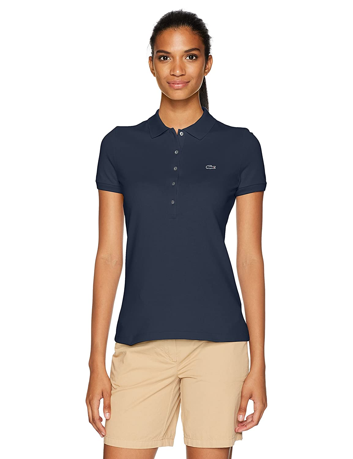 Lacoste Women's Slim Fit Stretch Mini Cotton Pique Polo Lacoste Womens Apparel PF7845-51