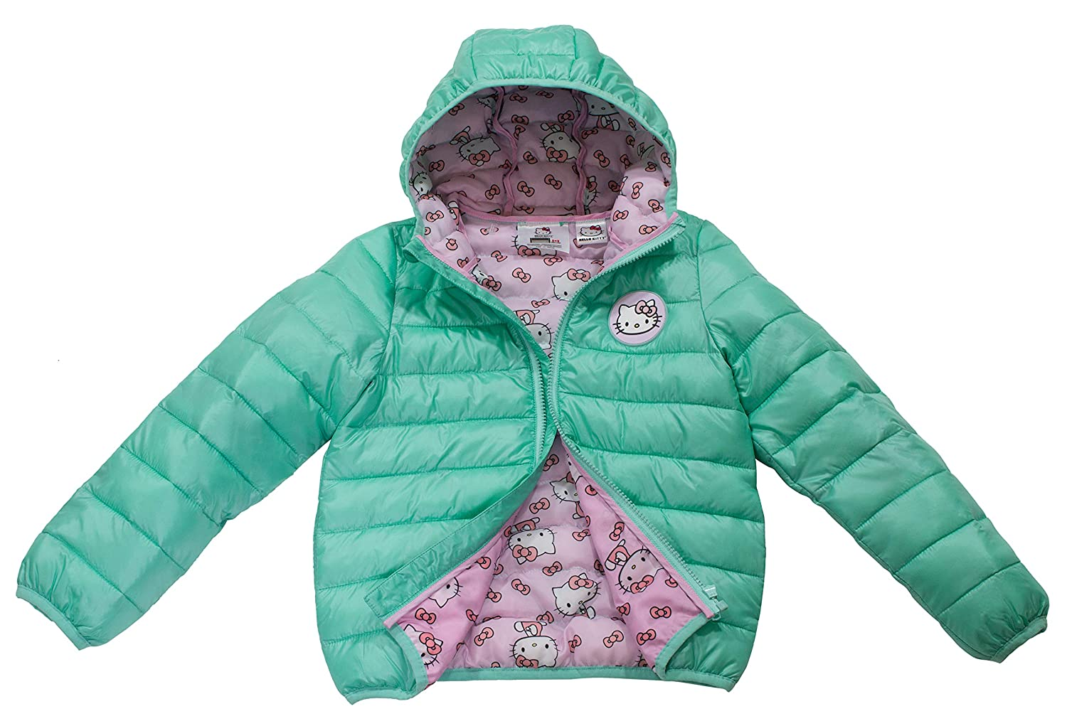 Sanrio Hello Kitty Toddler/Girls Ultralight Hooded Puffer Jacket, Size 2T-5T & 4-6X, Official Licensed Product