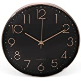 Clockz 14 inch Rose Gold and Black Decorative Wall Clock, Battery operated hanging Timepiece by Silent clock for Living room, Bedroom Kitchen, Office or Study - Elegant, Industrial, Multifunctional
