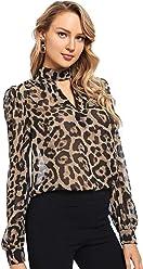 80883a1799 SheIn Women's Choker Neck Long Sleeve Sheer Leopard Print Chiffon Blouse Top