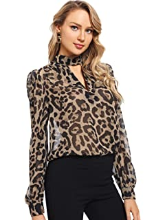 c5f9b11ce68 SheIn Women's Choker Neck Long Sleeve Sheer Leopard Print Chiffon Blouse Top