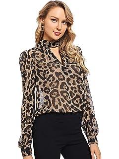 5963b0d10a SheIn Women's Choker Neck Long Sleeve Sheer Leopard Print Chiffon Blouse Top