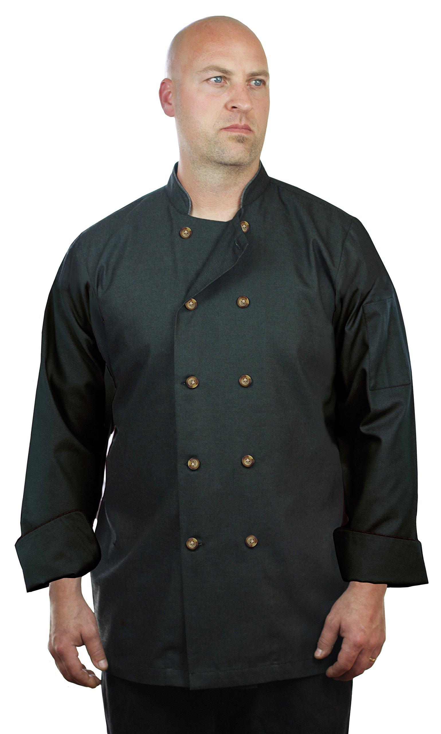 ASD Living High End Black Long Sleeve Chef Coat,Black,Small
