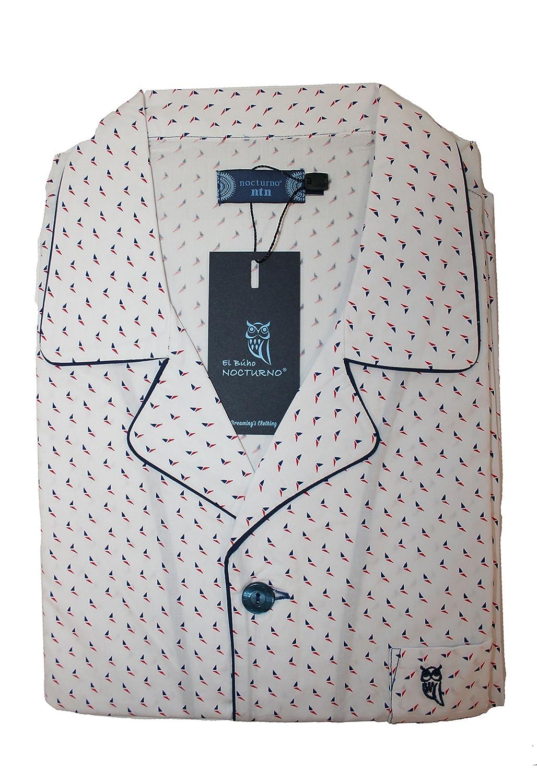 Pigiama Due Pezzi a Manica Lunghi Stampato da Uomo | Abbigliamento da Notte Classico per Signori - Popeline, 100% Cotone - Bianco 10L02A216501