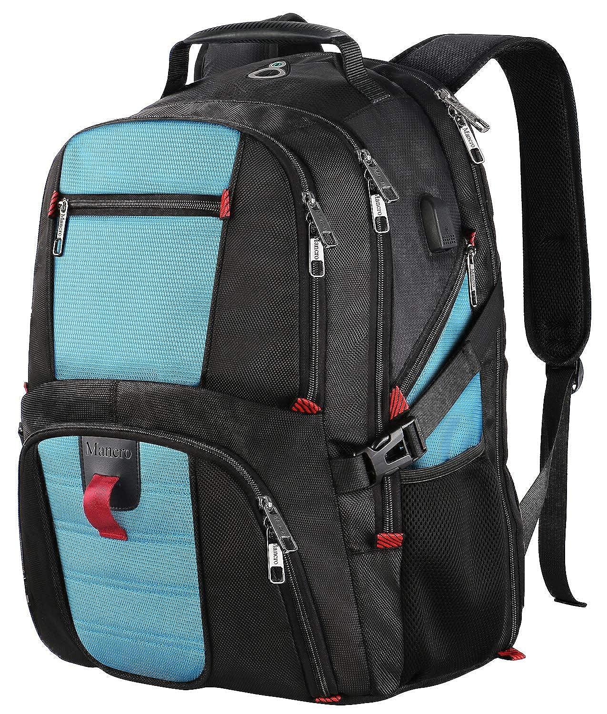 男性と女性のためのオーガナイザーポケット/USBポート/ヘッドフォンホールを備えたラップトップバックパック、旅行ラップトップリュックサックコンピュータバックパック、撥水ビッグカジュアルワークスクールブックバッグフィット17インチノートブック - ブルー   B07DQJ3Z4Q
