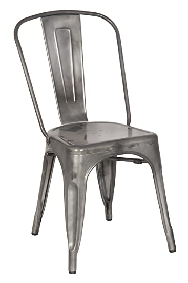 Amazon.com   Chintaly Imports Gun Metal Galvanized Steel Side Chairs, Set  Of 4   Chairs