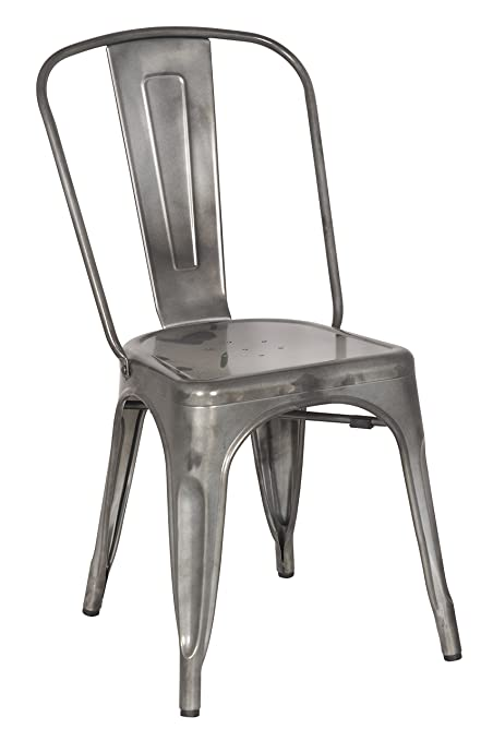 Bon Chintaly Imports Gun Metal Galvanized Steel Side Chairs, Set Of 4