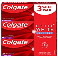 Colgate Optic White Advanced Teeth Whitening Toothpaste, Vibrant Clean - 3.2 Ounce...