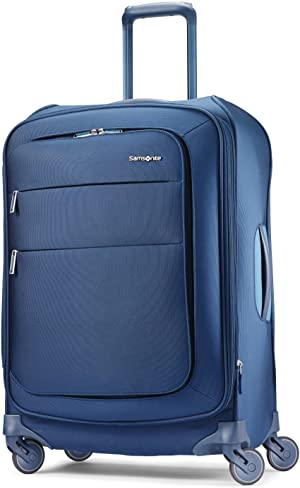Samsonite Flexis Softside Expandable Luggage with Spinner Wheels, Carbon Blue, Checked-Medium 25-Inch