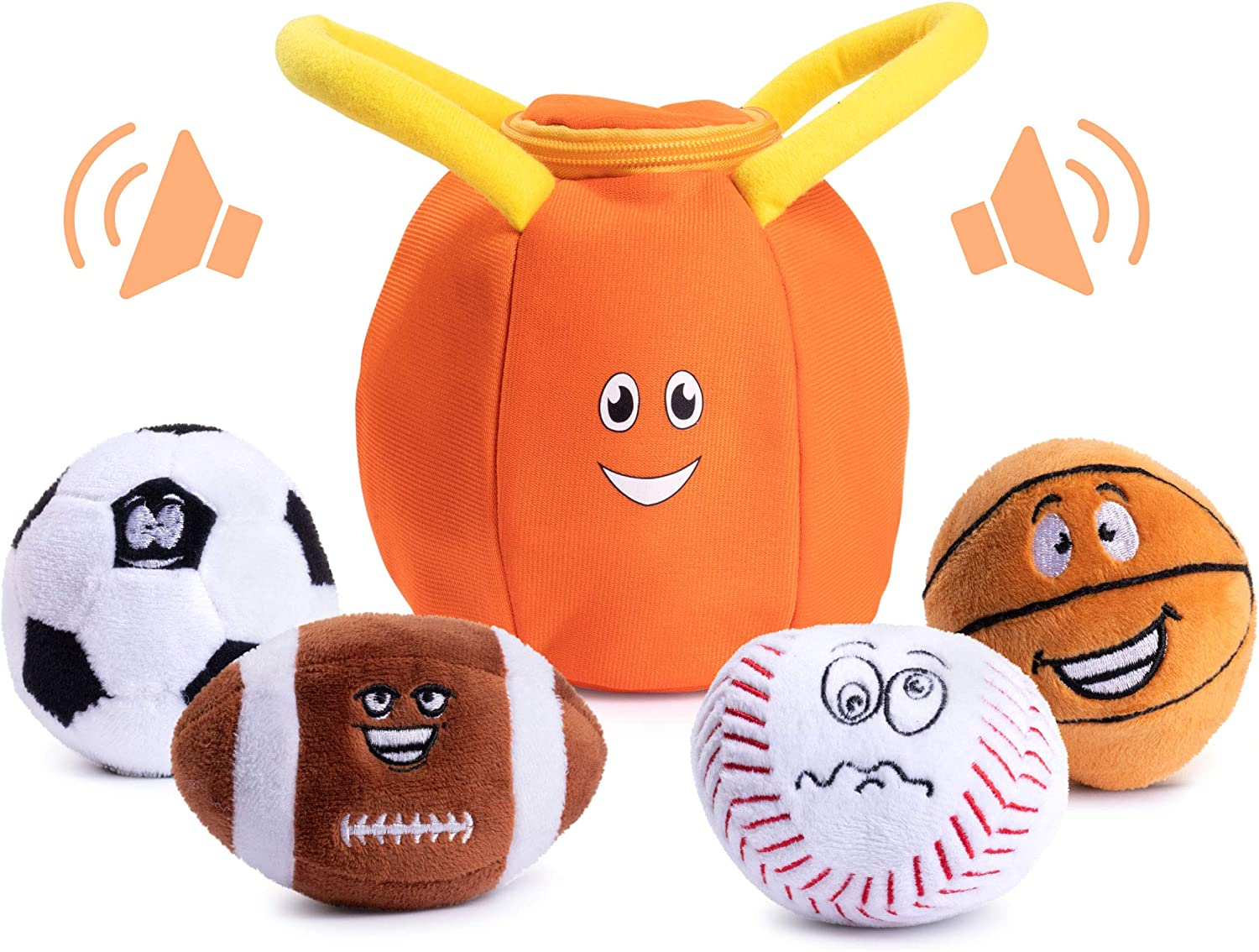 Plush Creations Sports Plush Bag with 4 Talking Soft Plush Balls. Sport Set Includes Plush Sports Bag Plush Basketball Plush Baseball Plush Soccer Ball and Plush Football. Great Baby and Toddler Gift