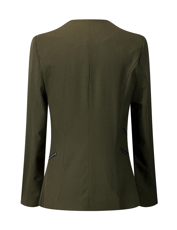 cd3983dd LookbookStore Women's Open Front Draped Asymmetric Padded Side Zip Blazer  Jacket at Amazon Women's Clothing store: