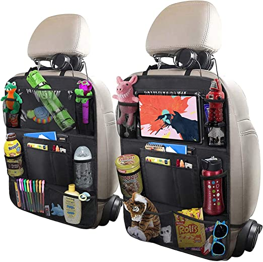Kick Mats Back Seat Protector SUSSURRO Car Seat Back Organizer Beige Car Seat Storage Bag Water Bottle Holder Organiser with Multi Pockets