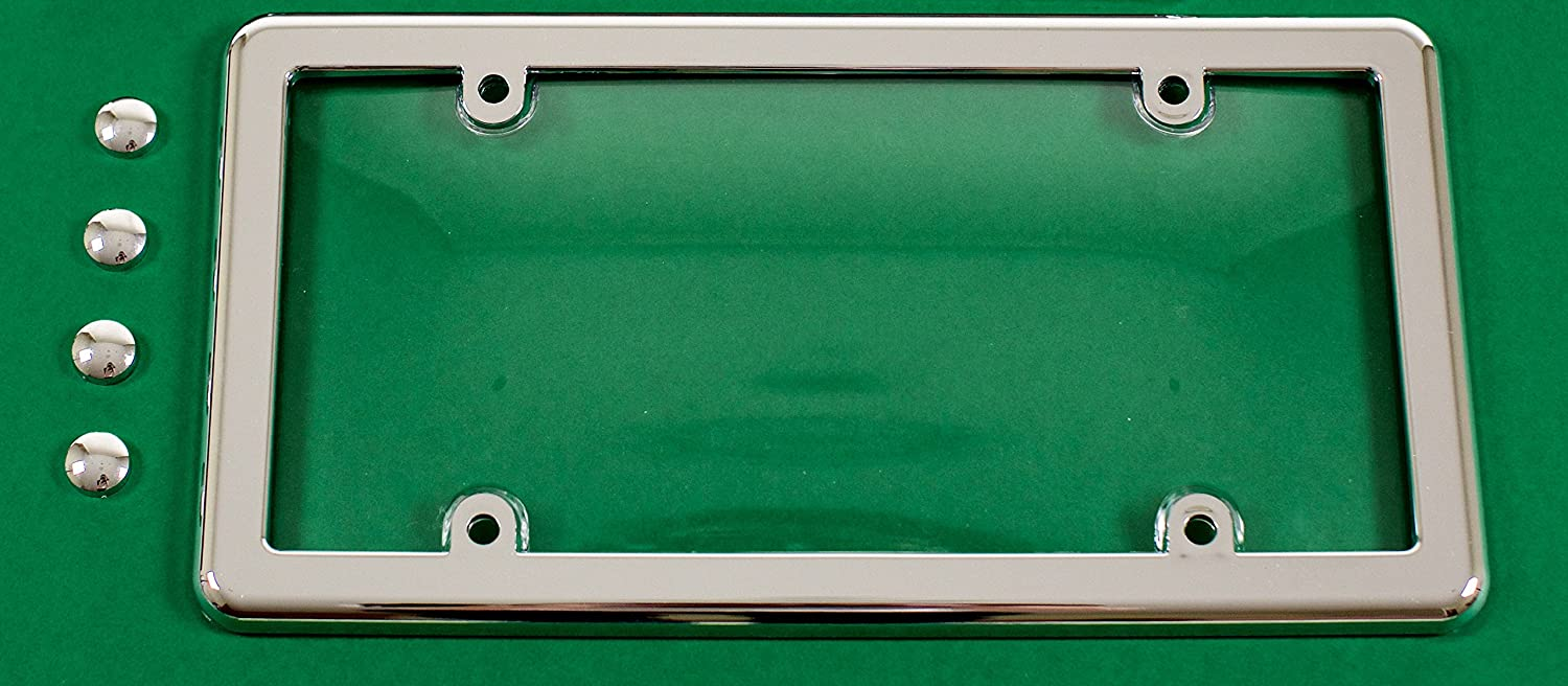 CHROME FRAME UNBREAKABLE CLEAR LICENSE PLATE SHIELD COVER 4 CHROME SCREW CAPS