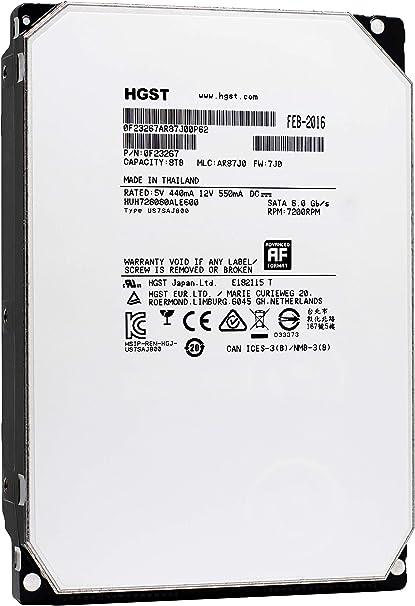 """WD HGST 8TB Internal HUH721008ALE604 Hard Drive 7200RPM SATA 6Gb//s 128MB 3.5/"""""""