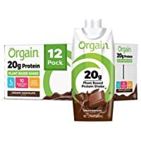 Orgain 20g Plant-Based Protein Shake - Creamy Chocolate - Gluten, Dairy, and Soy Free, Vegan, Non Gmo, Organic, 11 oz Shake, 12 Pack