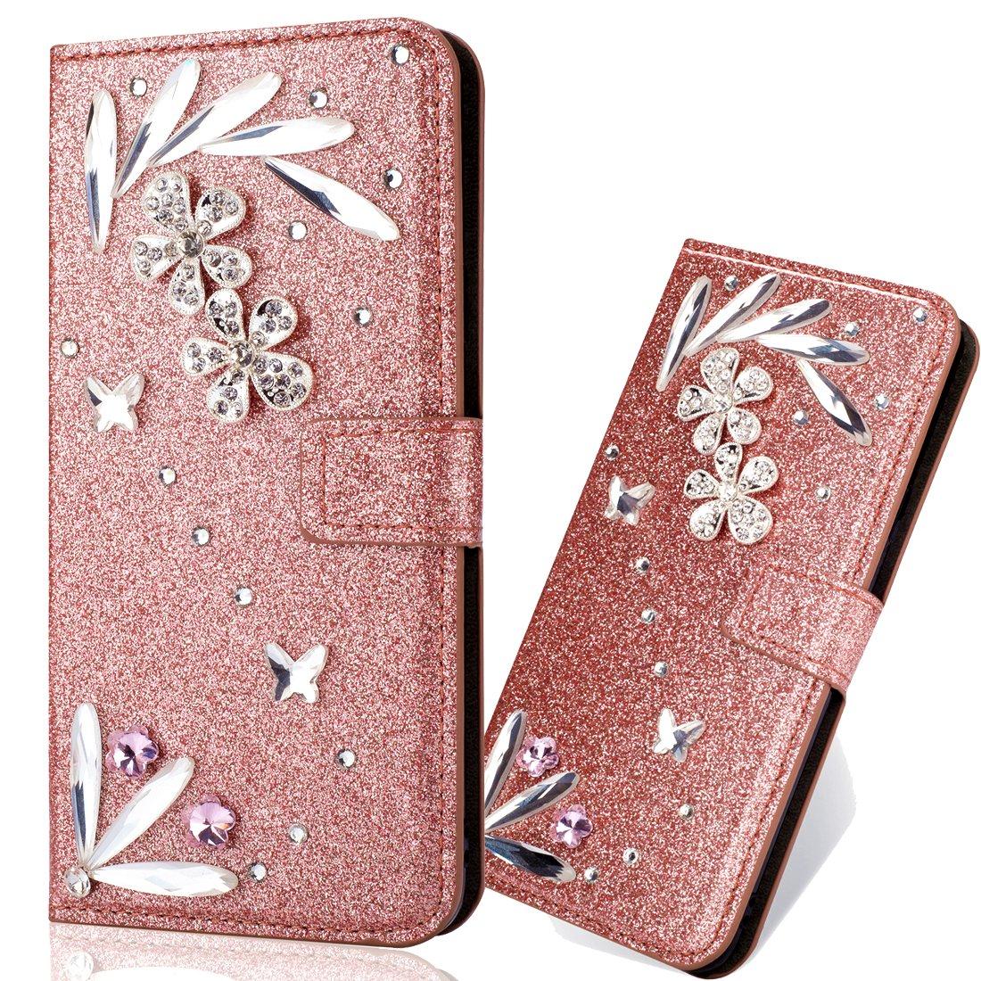 Vicbey Leder Bling Folio Sparkle Glitzer Strass Diamant f/ür Samsung A9 2018