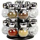 Evelyne GMT-10048-BK Revolving Rotation Spice Rack with Glass Spice Jars (16)