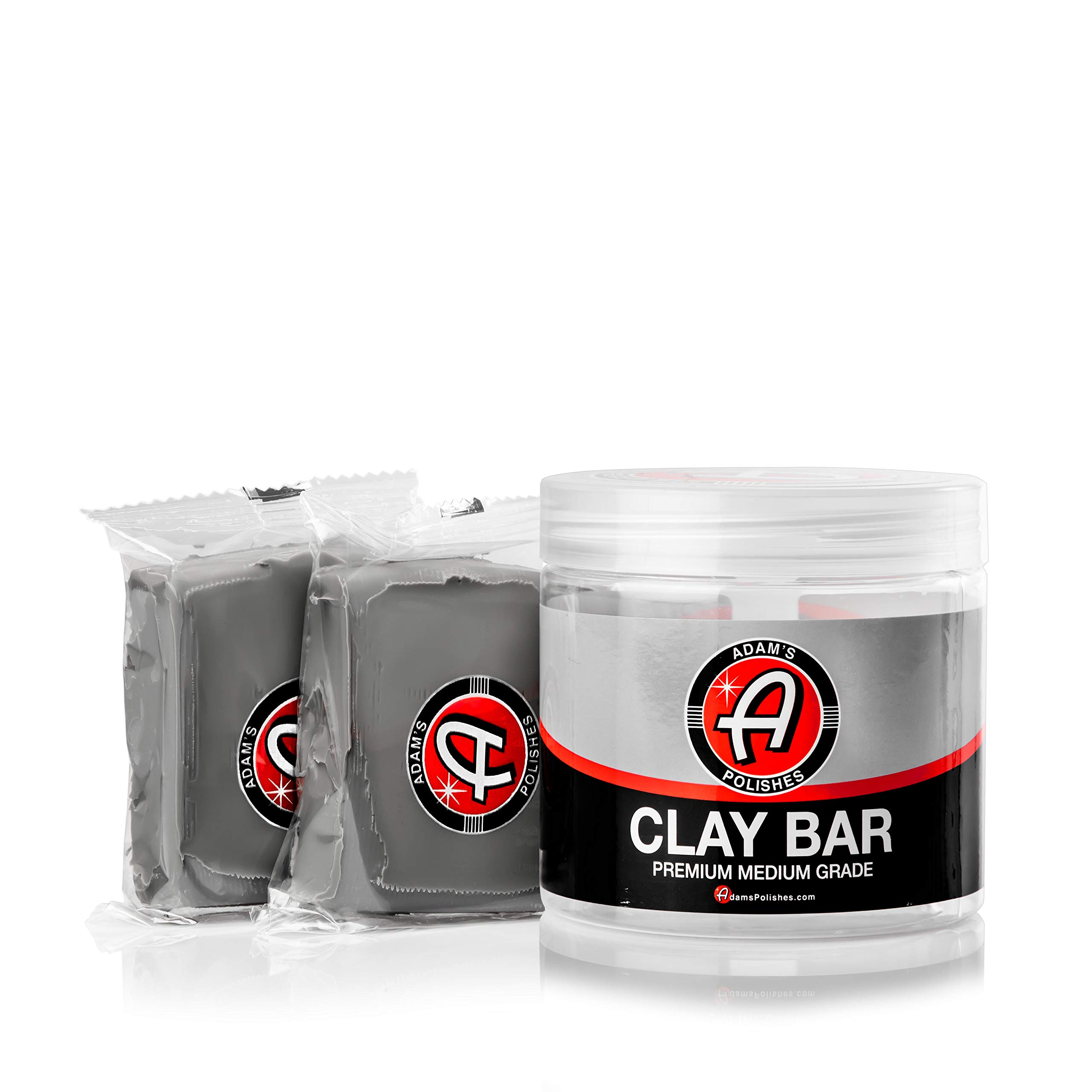 Adam's Clay Bar Jar 2 100g Detailing Bars - Soft Medium Grade Material - Remove Contamination & Grime with Ease for Post Wash or Before Polisher Wax, Sealant or Ceramic Coating Applications