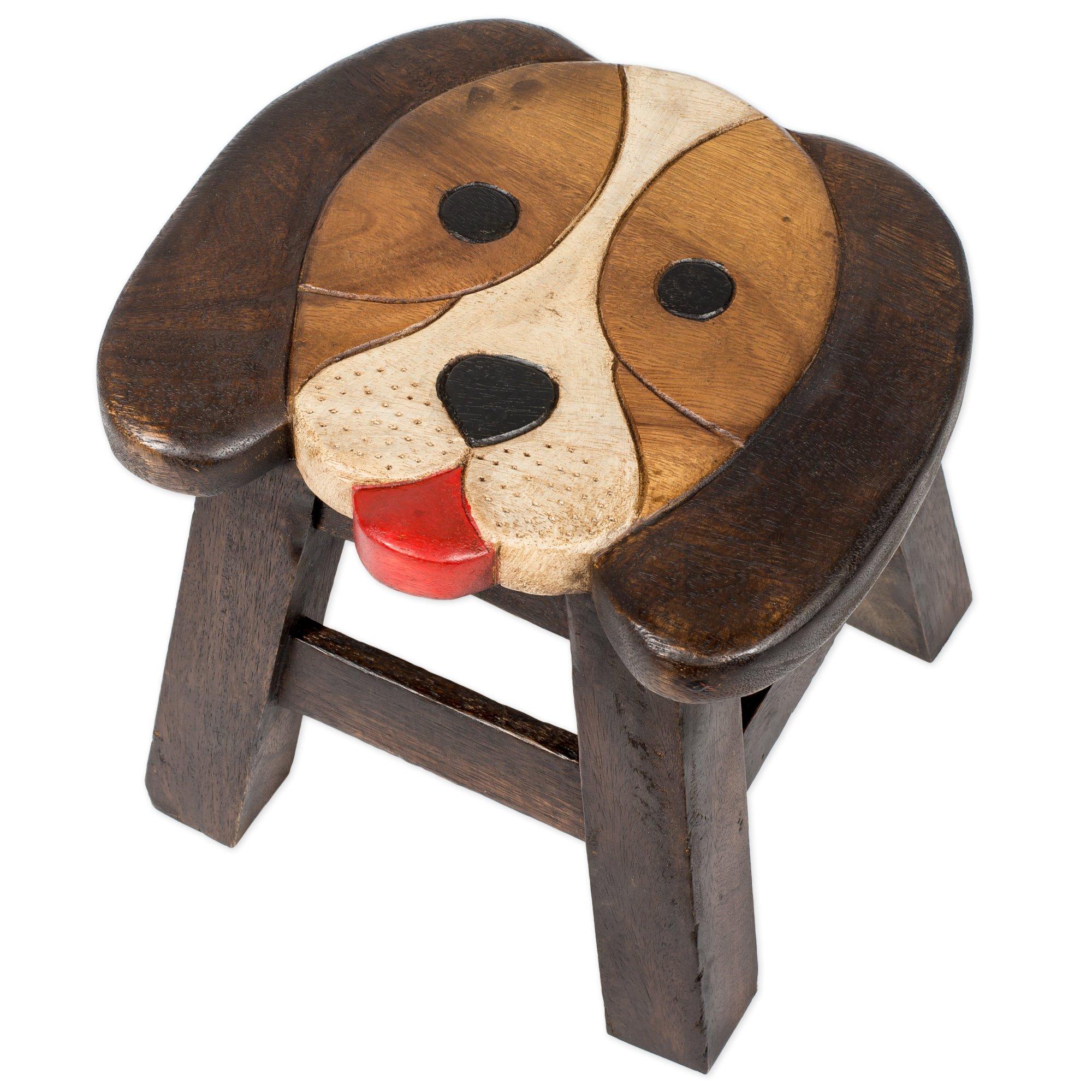 Puppy Dog Design Hand Carved Acacia Hardwood Decorative Short Stool by Sea Island Imports