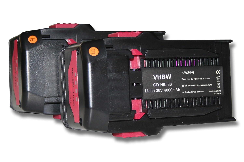 vhbw 2x Li-Ion Akku 4000mAh (36V) für Werkzeuge Hilti TE6A, TE 6A, Hilti TE7A wie Hilti B36, B36V.