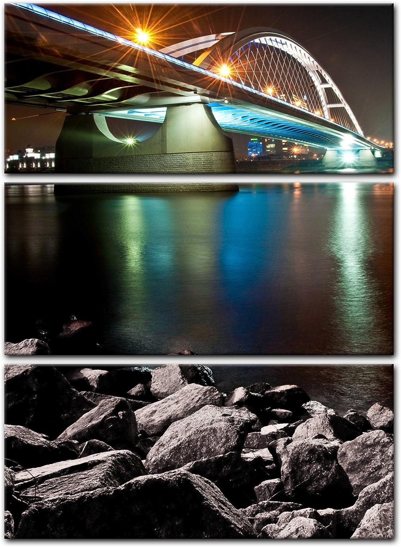 Bilderdepot24 Cuadros en Lienzo Puente de Apolo, Bratislava - Eslovaquia 90x120 cm - Enmarcado Listo Bastidor Imagen. Directamente Desde el Fabricante: Amazon.es: Hogar