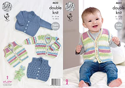 Amazon King Cole Baby Knitting Pattern Raglan Sleeve Lace Or