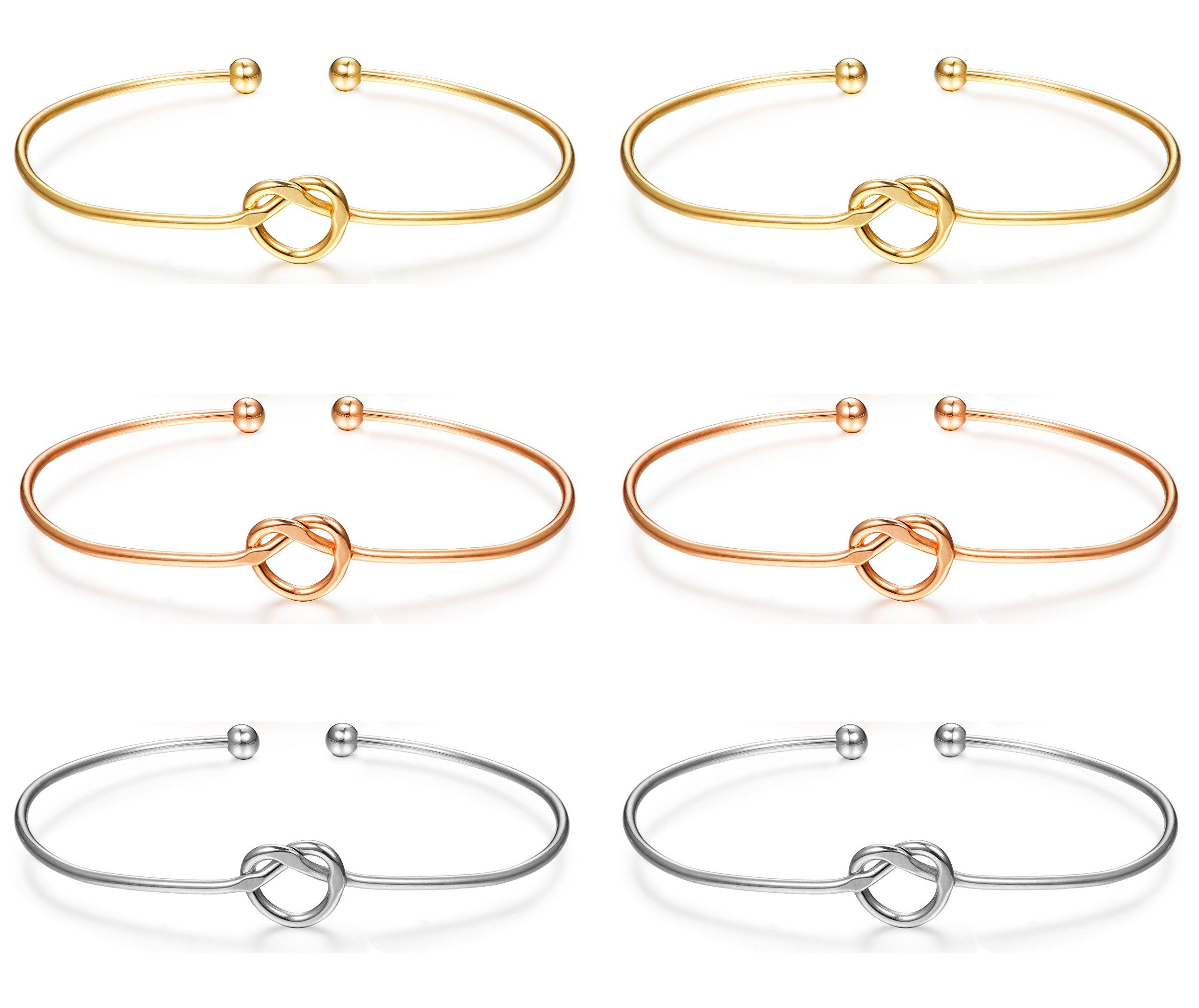 LOLIAS 6 Pcs Love Knot Bangle Bracelets Simple Cuffs Bracelets for Women Girls Stretch Bracelets Adjustable Silver-tone,Gold-tone,Rose Gold-tone