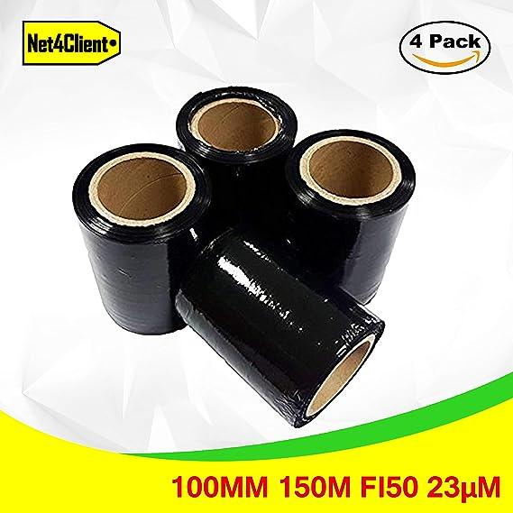 4 x Pack Stretch Verpackungsrolle Schwarz von Net4Client - Paket Verpackung Boxen Wrap Frischhaltefolie Stretch Rollen Schnel