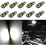 Alla Lighting 10pcs CAN-BUS Error Free T10 Wedge Super Bright High Power 3014 18-SMD 194 168 2825 W5W White LED Bulb Light Lamps