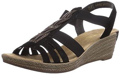 Rieker 62479 Damen Offene Sandalen mit Keilabsatz