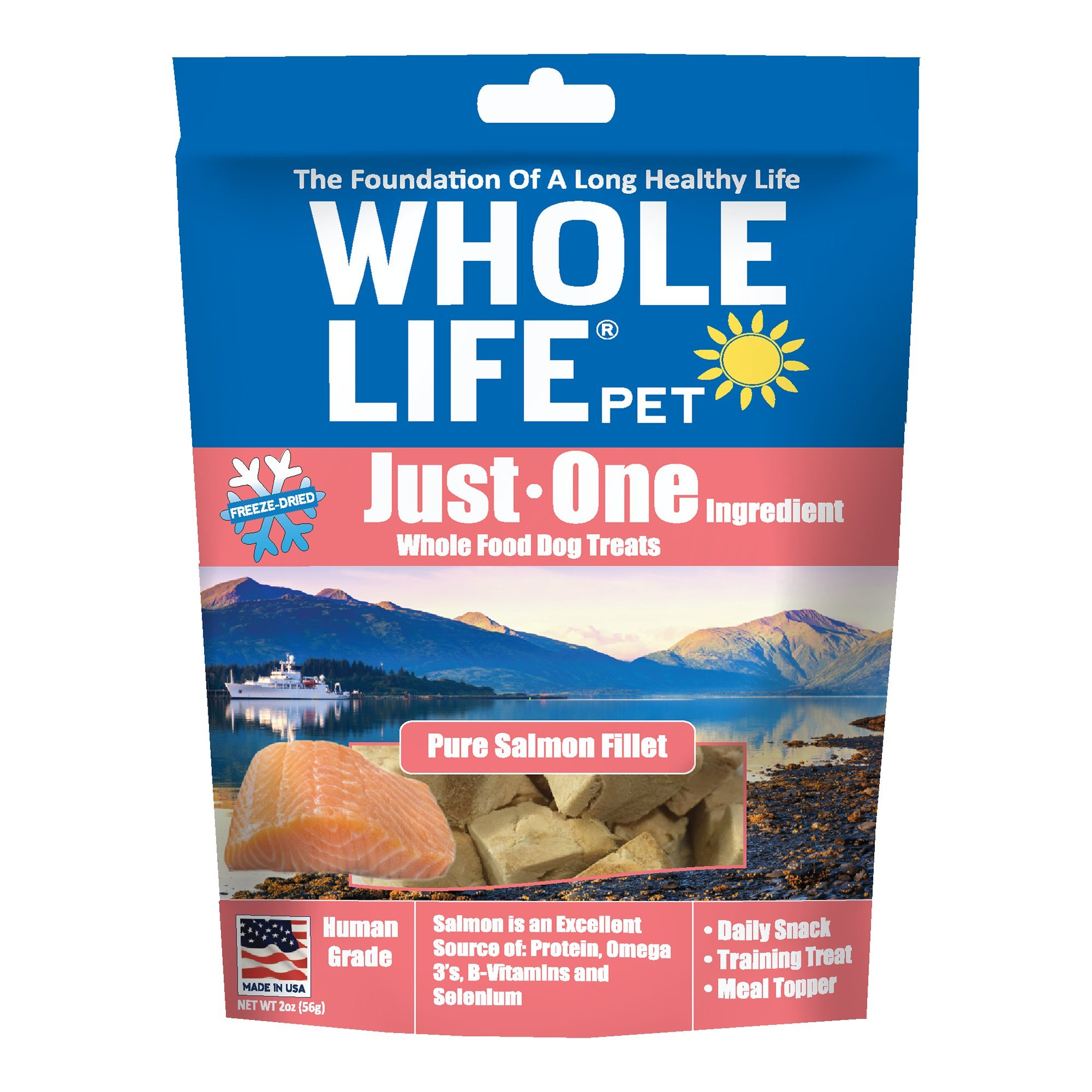 Whole Life Pet Just One-Single Ingredient Freeze Dried Treats for Dogs Pure Salmon Fillet, 2oz (Packaging May Vary)